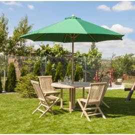 Zestaw mebli ogrodowych z parasolem zielony