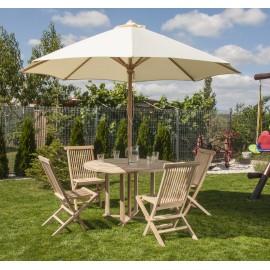 Zestaw mebli ogrodowych z parasolem kremowy