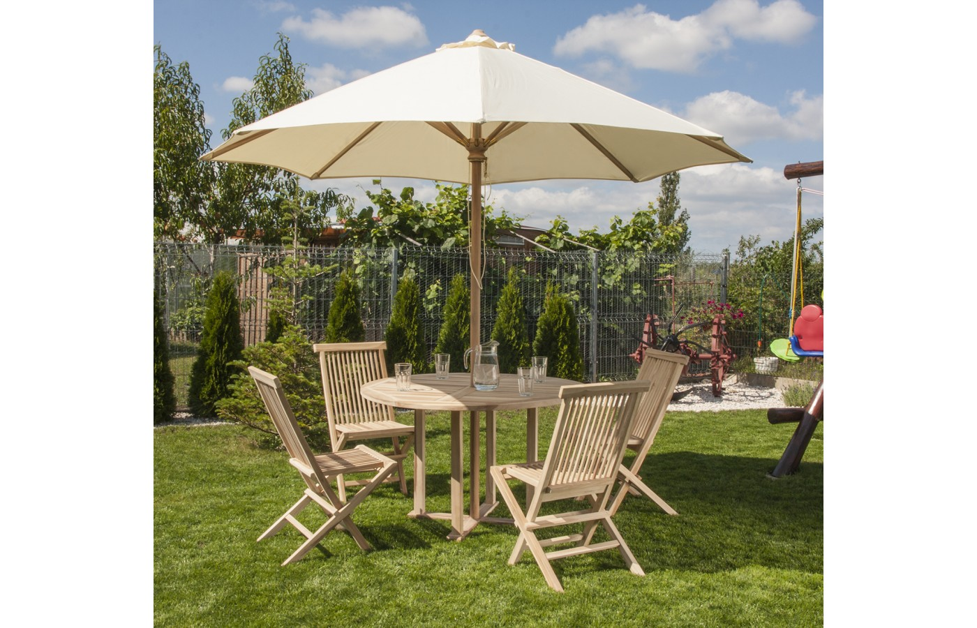 Set Of Garden Furniture Table 4 Chairs And Umbrella