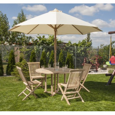 Set of garden furniture: table, 4 chairs and umbrella