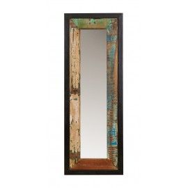 A unique mirror made of antiqued wood