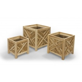 Set of garden flower pots made of exotic wood, teak