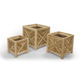 A set of beautiful garden pots, teak wood