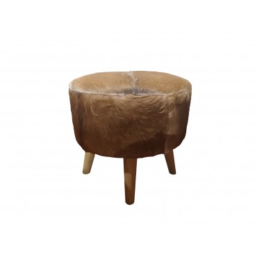 Pouf made of real goatskin