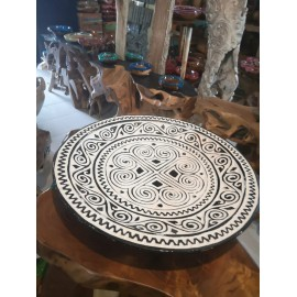 Tribal, carved decorative plate, teak wood 50 cm