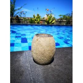 Stone bathroom brush container 12 cm