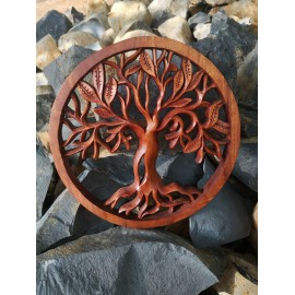 Oriental wall panel - Tree of Life - Bali sculpture, 30 cm, teak wood
