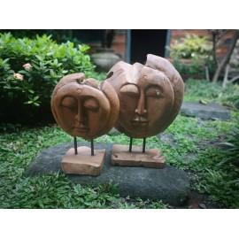 Sculpture faces, teak wood - set of 2 pieces