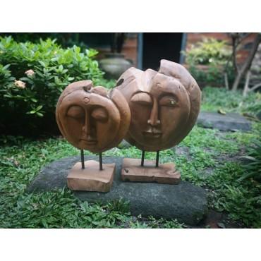 Rzeźba twarze drewno teak -...