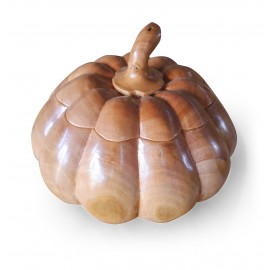Pumpkin casket from exotic wood, Teak, 20 cm