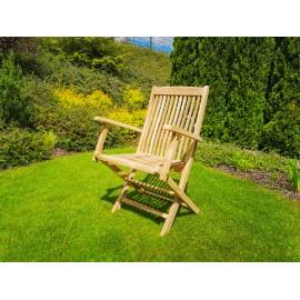 Krzesło ogrodowe składane z podłokietnikami, teak