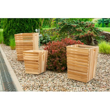 Set of 3 pots, teak wood