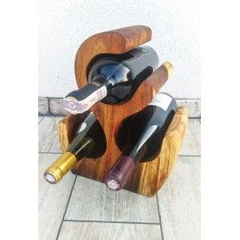 Wine rack made of exotic wood for 3 bottles, Suar