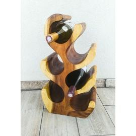 Stojak na wino z drewna egzotycznego na 6 butelek, Suar