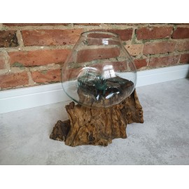 Cast glass on teak root