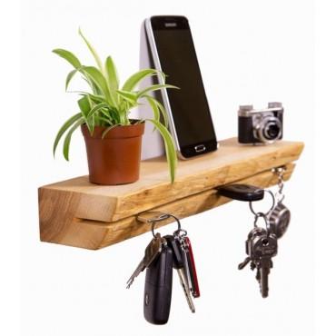 Półka na klucze - drewno teak