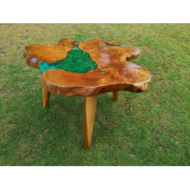 Coffee table teakwood with resin