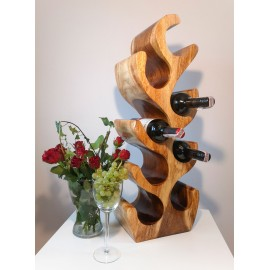 Wine rack made of exotic wood for 8 bottles, Suar