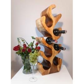 Wine rack made of exotic wood for 8 bottles, Suar