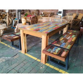 Table set with benches,  reclaimed wood