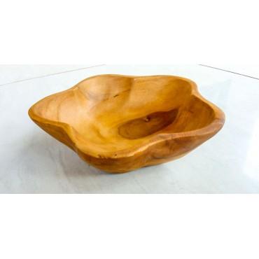 Wooden bowl teak flower16 cm