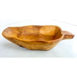 Drewniana misa teak listek 22 cm