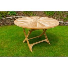 Round garden table Matahari, teak