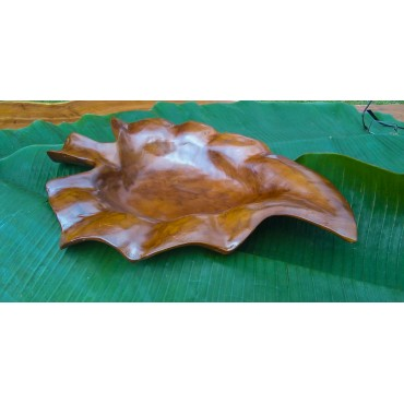 Wooden bowl teak leaf