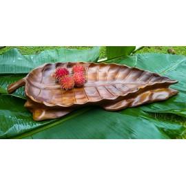 Drewniana misa teak liść 22 cm