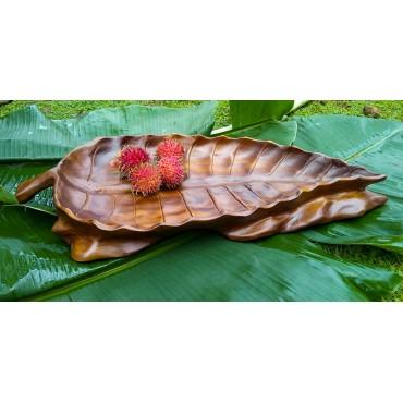 Wooden bowl teak leaf