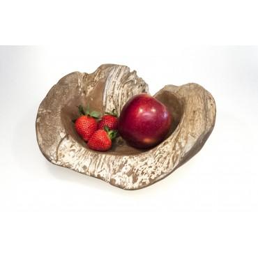 Teak wood bowl of irregular...