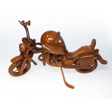 Motorcycle - teak wood carving