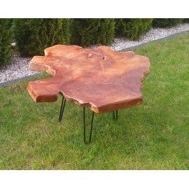 Coffee table with teak root top