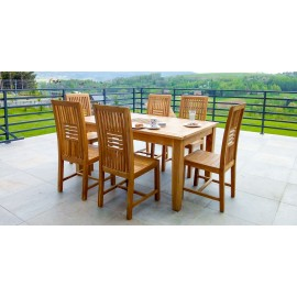 Aton table set and 6 chairs, teak