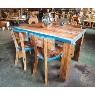 Table set with chairs,  reclaimed wood
