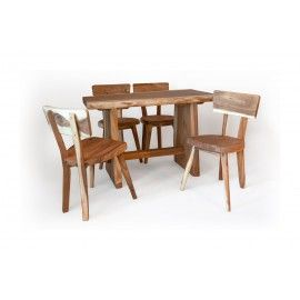 Set table with chairs made of Suar wood
