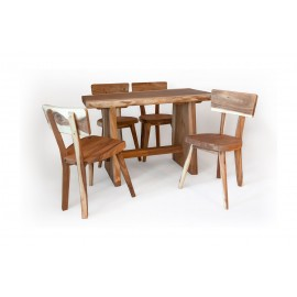 Zestaw stół z krzesłami z drewna Suar