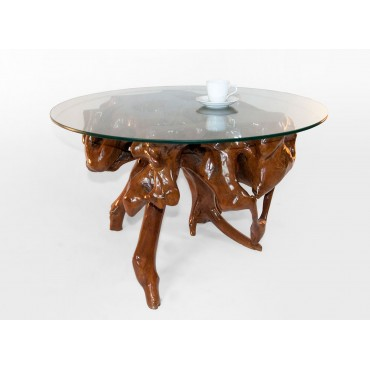 Teak root coffee table with 90 cm glass top