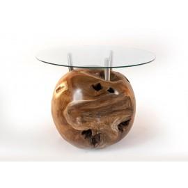 Stolik kawowy na kulistej podstawie