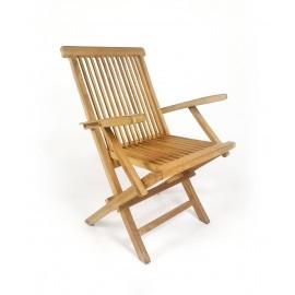 Folding teak garden chair with armrests