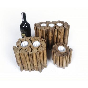 Set of 3 candlestick, bamboo