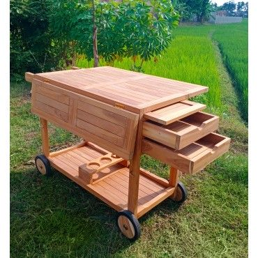 A two-level garden teak bar