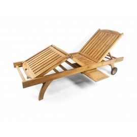 Deck sun lounger with double regulation, teak