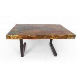 Coffe table made of recycled teak wood and epoxy resin