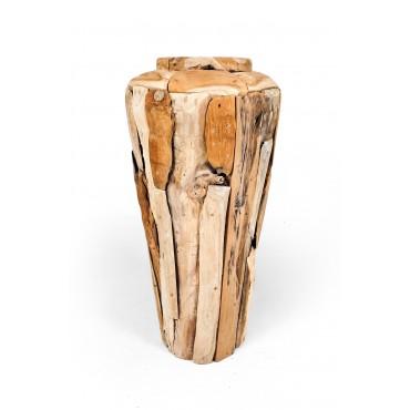 Garden amphora S-size reclaimed wood, teak