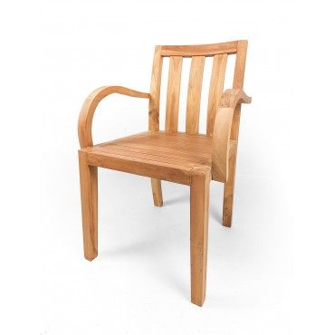 Chair with bent armrests, teak