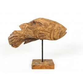 Sculpture fish Koi, wood teak