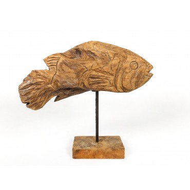 Sculpture fish, wood teak