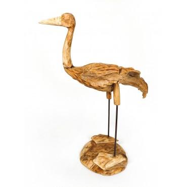 Crane - teak wood carving,...