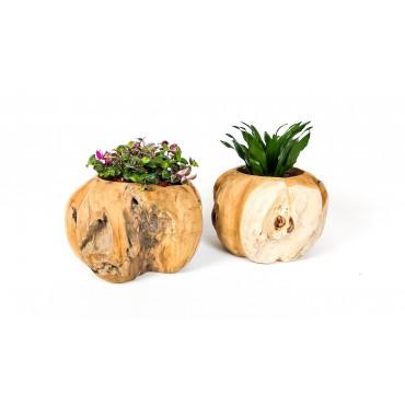 A hand-carved flower pot...